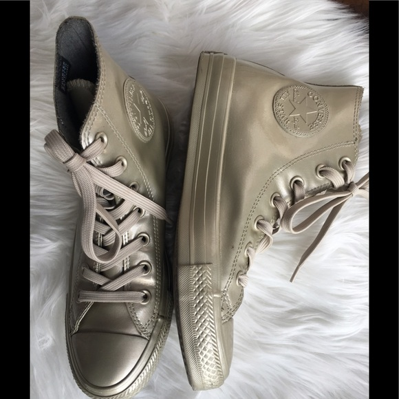 5ed468754401 Converse Shoes - Women s Gold Converse water resistant high tops